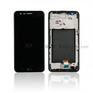 For LG K10 (2017) LCD Screen and Digitizer Assembly With Front Housing Replacement - Black - With Logo - Grade S+