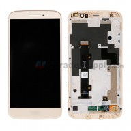 For Motorola Moto M XT1662 LCD Screen and Digitizer Assembly with Front Housing Replacement - Gold - With Logo - Grade S+