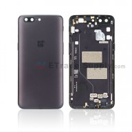 For OnePlus 5 Battery Door Replacement - Black - With Logo - Grade S+