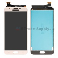 For Samsung Galaxy J7 Prime SM-G610 LCD Screen and Digitizer Assembly Replacement (Single Hole Version) - Gold - With Logo - Grade S+