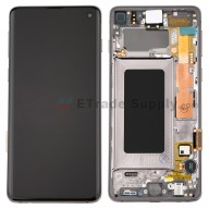 For Samsung Galaxy S10 Series LCD Screen and Digitizer Assembly with Front Housing Replacement - Black - Without Logo - Grade S+