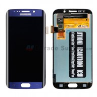 For Samsung Galaxy S6 Edge SM-G925V/G925P/G925R4/G925T/G925W8/G925I/G925F/G925A LCD Screen and Digitizer Assembly Replacement - Sapphire - With Logo - Grade S+