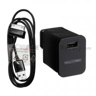For Samsung Galaxy Tab 2 7.0 P3100 Adapter and USB Data Cable Replacement (US Plug) - Black - Grade S+