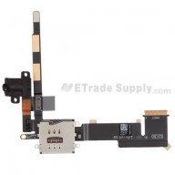 For Apple iPad 2 Audio Flex Cable Ribbon with Sim Card Reader Replacement (Wifi Plus 3G Version) - Black - Grade S+