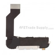 For Apple iPhone 4S Charging Port Flex Cable Ribbon Assembly Replacement - White - Grade S+