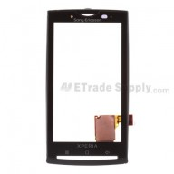 For Sony Ericsson Xperia X10 Digitizer Touch Screen with Front Housing Replacement ,Black - Grade S+