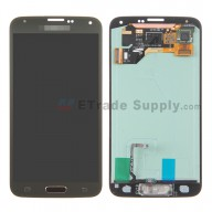 For Samsung Galaxy S5 Samsung-G900 LCD Screen and Digitizer Assembly with Home Button Replacement - Gold - With Logo - Grade S+