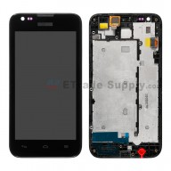 For Huawei Ascend Y550 LCD Screen and Digitizer Assembly with Front Housing Replacement - Black - With Logo - Grade S+