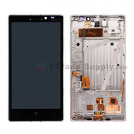 For Nokia Lumia 930 LCD Screen and Digitizer Assembly with Front Housing Replacement - Silver - With Logo - Grade S+