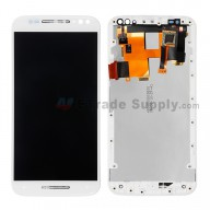 For Motorola Moto X Style XT1575/XT1572 LCD Screen and Digitizer Assembly with Frame Replacement (5.7inches) - White - Without Any Logo - Grade S+