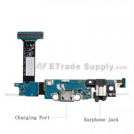 For Samsung Galaxy S6 Edge SM-G925I Charging Port Flex Cable Ribbon with Earphone Jack Replacement - Grade S+