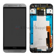 For HTC One M9 LCD Screen and Digitizer Assembly with Front Housing Replacement - Gray - With Logo - Grade S+