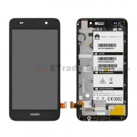 For Huawei Y6 LCD Screen and Digitizer Assembly with Front Housing Replacement - Black - With Logo - Grade S+