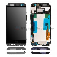 For HTC One M8 LCD Screen and Digitizer Assembly with Front Housing Replacement - Gray - With Logo - Grade S+