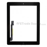 For Apple iPad 3 Digitizer Touch Screen Assembly Replacement - Black - Grade S