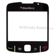 For BlackBerry Curve 8520, 8530 Glass Lens with Adhesive Replacement - Black - Grade A