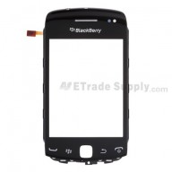 For BlackBerry Curve 9380 Digitizer Touch Panel with Front Housing Replacement - Black - Grade S+