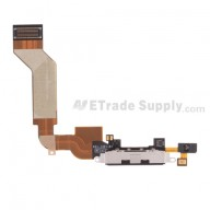 For Apple iPhone 4S Charging Port Flex Cable Ribbon Replacement - Black - Grade S+