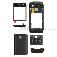 For BlackBerry Pearl 3G 9105 Complete Housing Replacement - Black - Grade S+