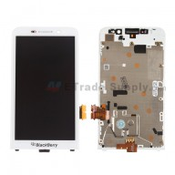 For BlackBerry Z30 LCD Screen and Digitizer Assembly with Frame Replacement - White - With Logo - Grade S+