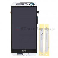 For HTC One M8 LCD Screen and Digitizer Assembly with Front Housing Replacement - Silver - With Logo - Grade S+