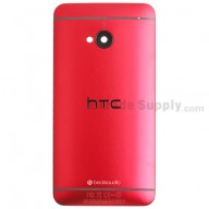 For HTC One Rear Housing Replacement (Red) - With Logo - With Words - Grade S+