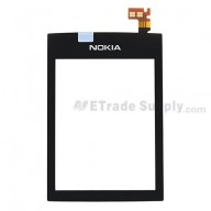For Nokia Asha 300 Digitizer Touch Screen Replacement - Black - With Logo - Grade S+