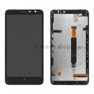 For Nokia Lumia 1320 LCD Screen and Digitizer Assembly with Front Housing Replacement - Black - With Logo - Grade S+