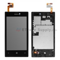 For Nokia Lumia 520 LCD Screen and Digitizer Assembly with Front Housing Replacement - Black - With Logo - Grade S+