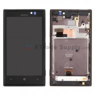 For Nokia Lumia 925 LCD Screen and Digitizer Assembly with Front Housing Replacement - Black - With Logo - Grade S+