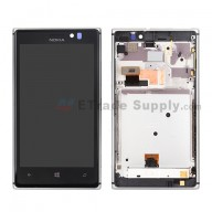 For Nokia Lumia 925 LCD Screen and Digitizer Assembly with Front Housing Replacement - Silver - With Logo - Grade S+