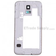 For Samsung Galaxy S5 SM-G900A Rear Housing with Ear Speaker Mesh Cover Replacement - White - Grade S+
