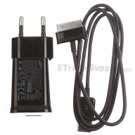 For Samsung Galaxy Tab 10.1 P7500 Adapter and USB Data Cable Replacement (Eur Plug) - Black - Grade S+