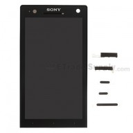 For Sony Xperia S LT26i LCD Screen and Digitizer Assembly with Front Housing Replacement - Black - Grade S+