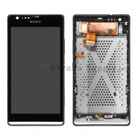 For Sony Xperia SP M35h LCD Screen and Digitizer Assembly with Front Housing Replacement - Black - With Logo - Grade S+