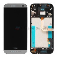 For HTC One Mini 2 LCD Screen and Digitizer Assembly with Front Housing Replacement - Gray - With Logo - Grade S+