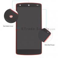 For LG Nexus 5 D820 LCD Digitizer Assembly with Front Housing Replacement (No small parts except red mesh cover) - Red - Without Any Logo - Grade S+