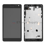 For Microsoft Lumia 535 Dual SIM LCD Screen and Digitizer Assembly with Front Housing  Replacement (2C Version) - Black - With Logo - Grade S+