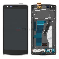 For OnePlus One LCD Screen and Digitizer Assembly with Front Housing Replacement - Black - Without Logo - Grade S+