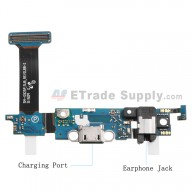 For Samsung Galaxy S6 Edge SM-G925P Charging Port Flex Cable Ribbon with Earphone Jack Replacement - Grade S+