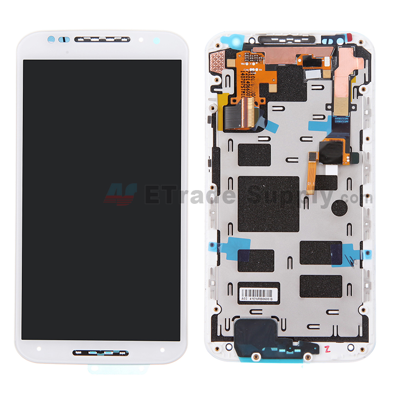 For Motorola Moto X (2nd Gen.) XT1096 LCD Screen and Digitizer Assembly with Frame Replacement (No Mesh Cover) - White - Without Any Logo - Grade S+