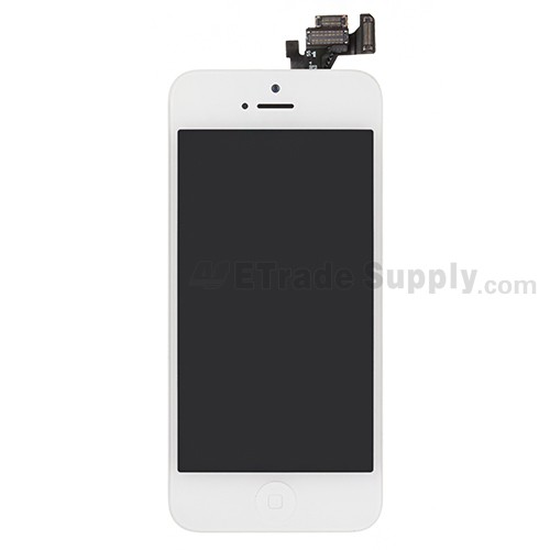 For Apple iPhone 5 LCD Screen and Digitizer Assembly with Frame and Home Button Replacement - White - Grade S+