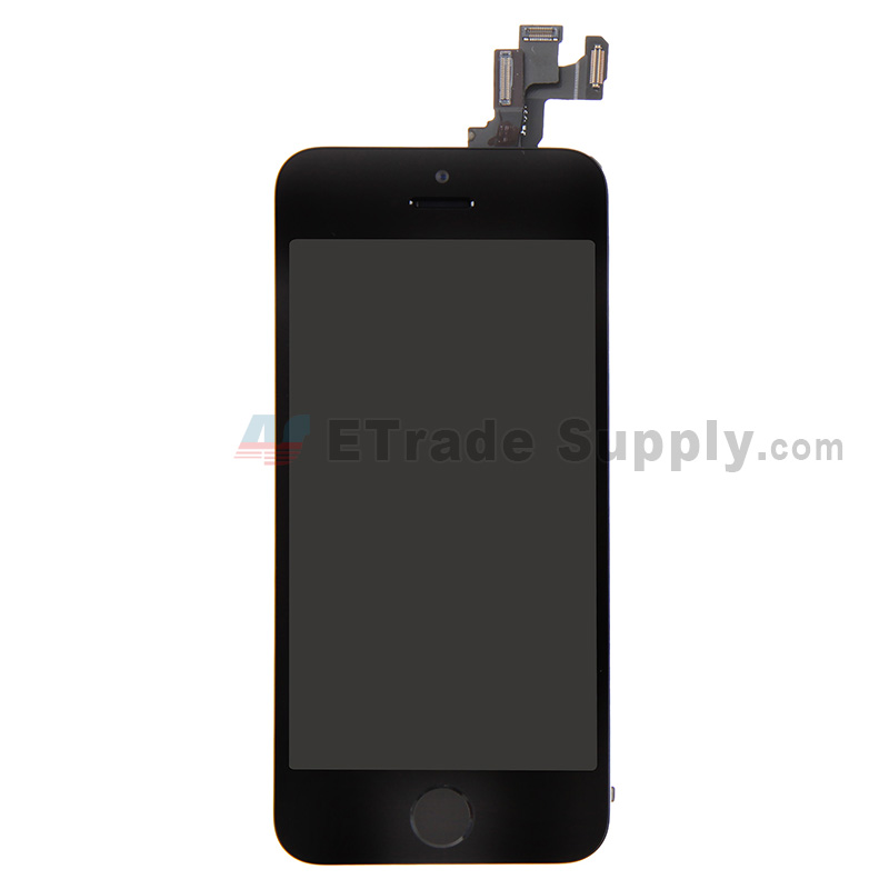 For Apple iPhone 5S LCD Screen and Digitizer Assembly with Frame and Home Button Replacement - Black - Grade S