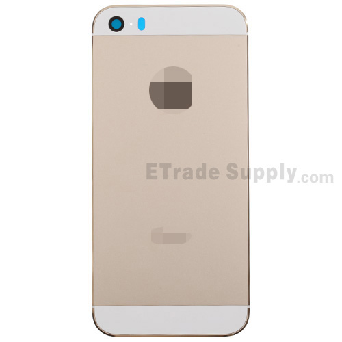 For Apple iPhone 5S Rear Housing with Top and Bottom Glass Cover Replacement - Gold - Grade S+