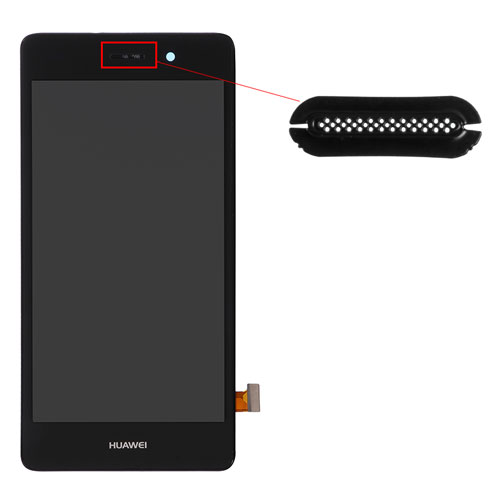 For Huawei P8lite Ear Speaker Mesh Cover Replacement - Black - Grade S+