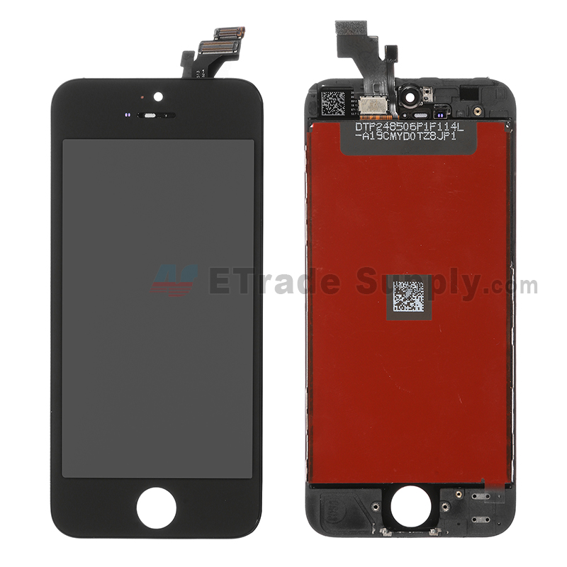 For Apple iPhone 5 LCD Screen and Digitizer Assembly with Frame Replacement - Black - Grade A