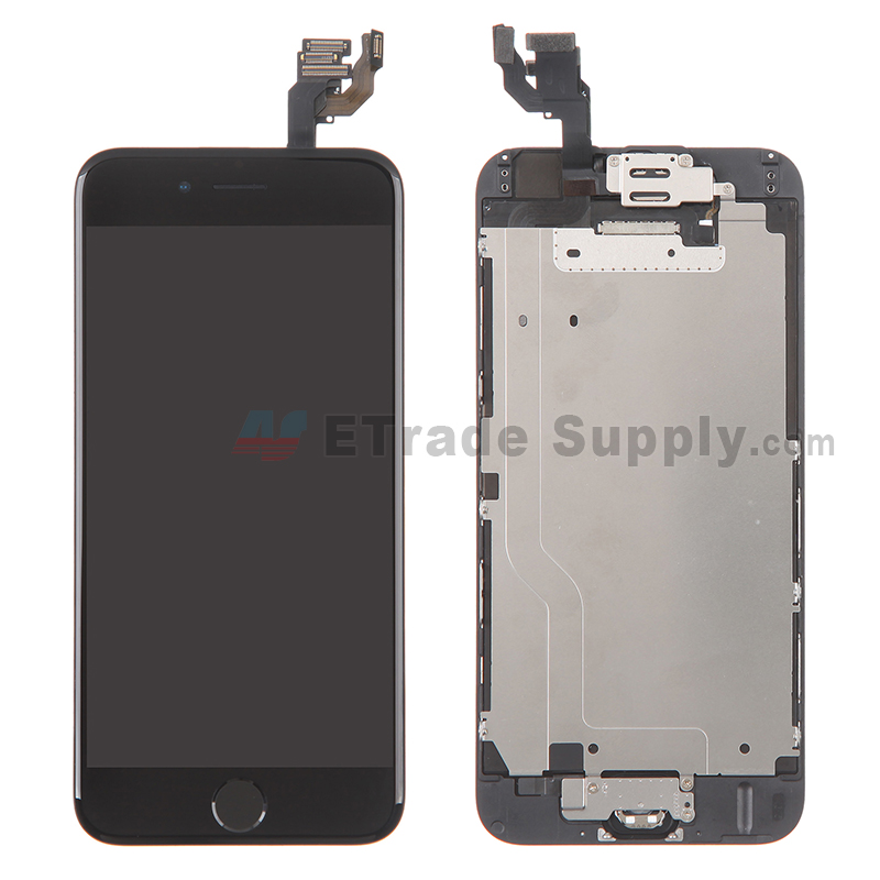 For Apple iPhone 6 LCD Screen and Digitizer Assembly with Frame and Home Button Replacement - Black - Grade A