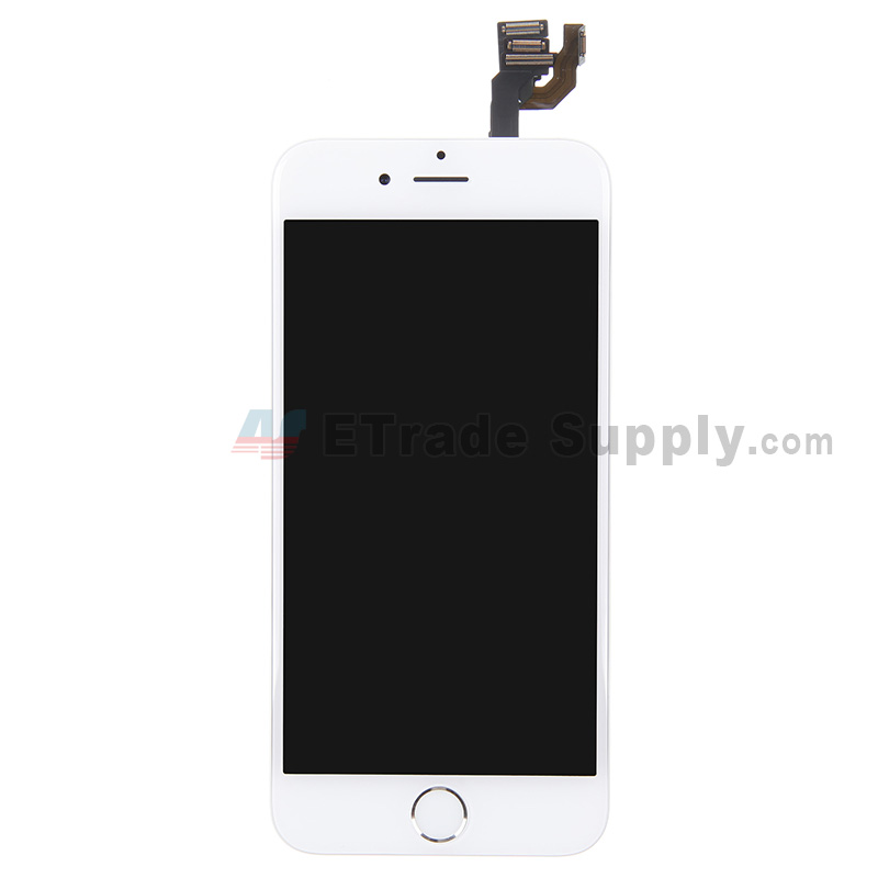 For Apple iPhone 6 LCD Screen and Digitizer Assembly with Frame and Home Button Replacement - Silver - Grade S