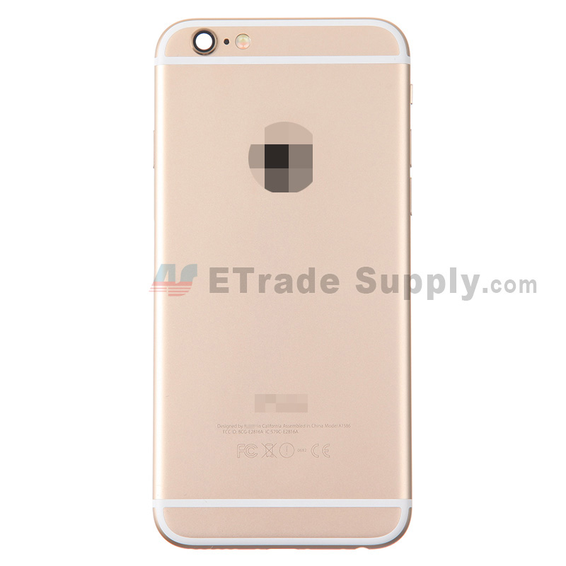 For Apple iPhone 6 Rear Housing Assembly With Apple Logo Replacement (Without IMEI Code, A1586) - Gold - With Words - Grade S+