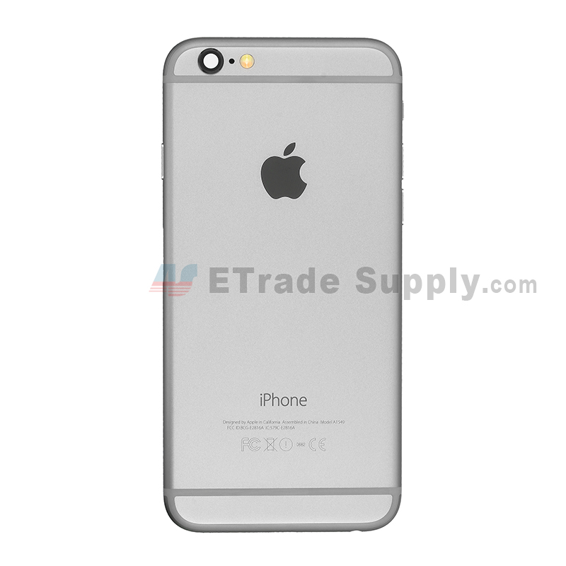 For Apple iPhone 6 Rear Housing Assembly With Apple Logo Replacement  (Without IMEI Code, A1549) - Gray - With Words - Grade R